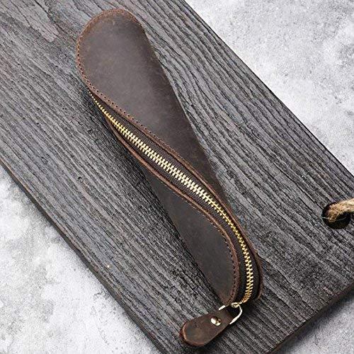 Woowa astuccio in pelle, vintage mano penna di piccola con cerniera, in vera pelle artigianato d' arte spirale supporto della penna matita sacchetto