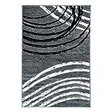 Teppich Läufer Modern Moda Wohnzimmer Flachflor Bogen Muster Grau Schwarz Größe 80/300 cm
