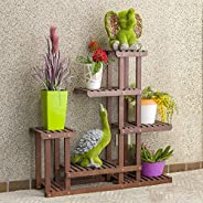 Sharpex Plant Stand Rack Indoor & Outdoor, 6 Tier Wood Plant Display Rack with Multi Shelves, Flower Pots Organizer Holder,