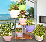 #7: Elegant Indoor Flower Pot Corner Stand 28.5 inch Tall; Red Beech Color