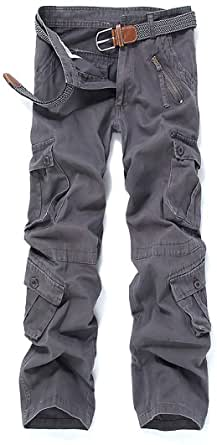 iCKER Mens Relaxed-Fit Cargo Pants Multi Pocket Military Camo Combat Work Pants
