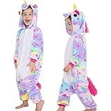 Bambini Unicorno Pigiama delle Onesie,Costumi Cosplay Felpa con Cappuccio Sleepwear Flanella Unicorno Nightwear Cartoon Fancy