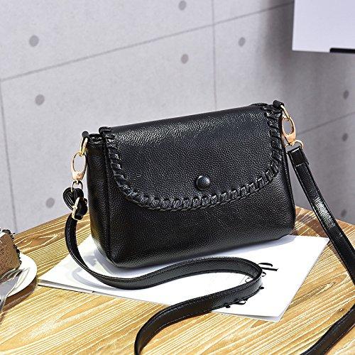LiZhen Ms. pacchetti nuovo elegante tracolla messenger bag coreano selvatici minimalista in morbida pelle con ragazze pacchetti di piccole dimensioni, il vino rosso Nero