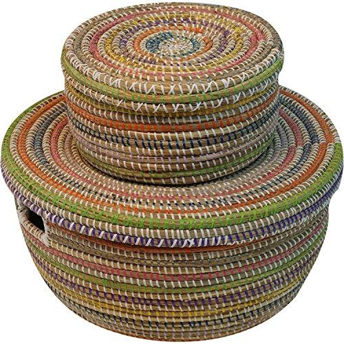 EA Déco Naturel & Design PLS2MUL Panier Plastique/Paille Multicolore 35 x 27 x 28 cm