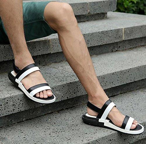 PBXP Paar Männer Frauen Gesunde Outdoor Leder Sandalen Anti-Rutsch Wearable Outsoles Open Toe Wölbung Strand Breathable Dual-Use Einfache Casual Sandalen 38-44 White