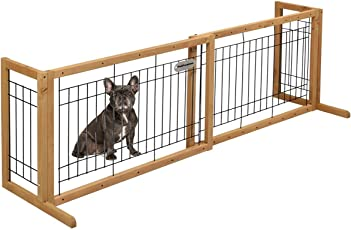 "Pet Premium Petpremium Free-Standing Pet Gates Extra Wide Indoor Small Dog Gate Wooden Long Puppy Door Gate Expandable Pet Safety Gate Can Adjustable 40"" to 71"""