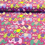 MAGAM-Stoffe ''Julia'' Bunte Elefanten pink | Jersey-Stoff-Kinder | Öko-Tex Qualität | Meterware ab 25cm | UX