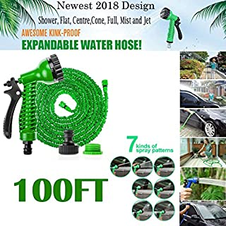 AutoBaBa 2018 100FT Expandable Retractable Garden Hose Pipe Expanding Fittings Spray Gun - Green