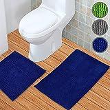 WohnDirect Badematten Set 2tlg – Badematte 45 x 45 cm und Badteppich 50 x 80 cm – Duschvorleger Rutschfest & Waschbar Ohne WC-Ausschnitt