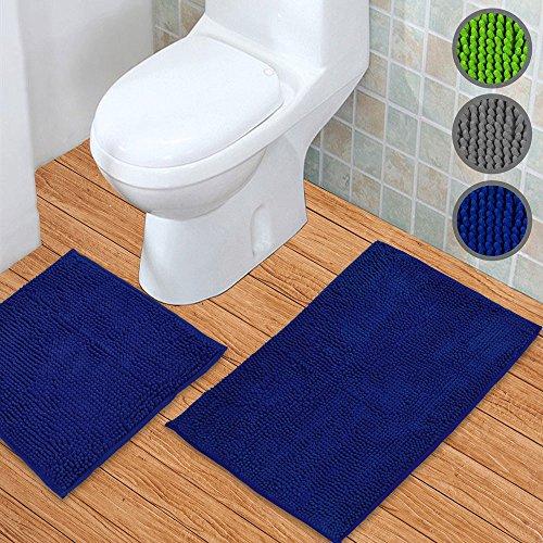 Badematten Set 2tlg – Badematte 45 x 45 cm und Badteppich 50 x 80 cm – Duschvorleger rutschfest & waschbar OHNE WC-Ausschnitt