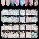 Ebanku 24 Couleurs Paillettes Ongles Holographiques Nail Art Flakes Glitter Sirène, Brillant...