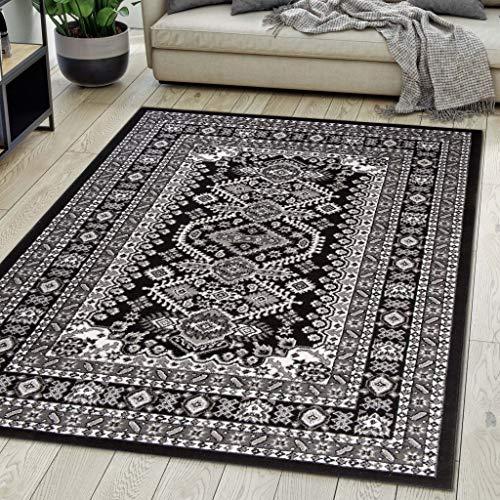 Carpeto Rugs Teppich Orientalisch Schwarz Klassisch Muster Kurzflor Öko-Tex Wohnzimmer 80 x 150 cm -