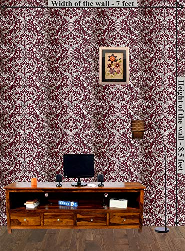 SamDecors Classic/Modern Waterproof Vinyl Coating Wallpaper roll Non-Adhesive (Red; 53 cm x 10.05 m; 57 sq ft.)