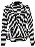 Damen Langärmelig enge Passform Schößchen Blazer Damen, gestreift ein Knopf Jacke Mantel - schwarz und weiß Streifen, UK 16-18