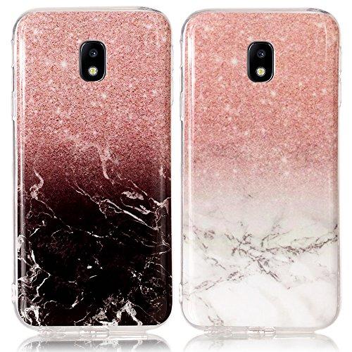 CLM-Tech kompatibel mit Samsung Galaxy J7 (2017) DUOS TPU Silikon Hülle 2X, Schutzhülle Handyhülle, Case 2er Set, Marmor Muster schwarz weiß Mehrfarbig (#2)
