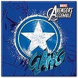 Adolescentes Marvel Avengers Assemble Servilletas De Papel, Paquete de 20 incluye Capitán América
