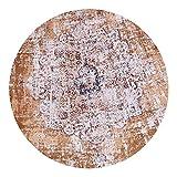 Loartee Vintage Bohemian Runde Teppich für Wohnzimmer Esszimmer, Orange, Round 3.4 ft / 100cm