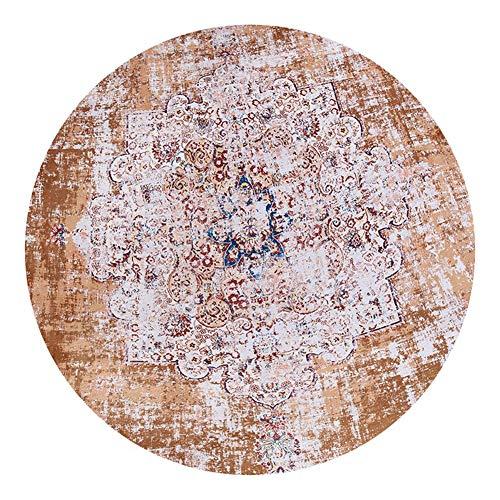Loartee klassischer böhmischer runder Teppich  für Wohn- oder Esszimmer, Polyester-Mischgewebe, Orange, Round 4 ft /120cm (Runde-teppich Orange)