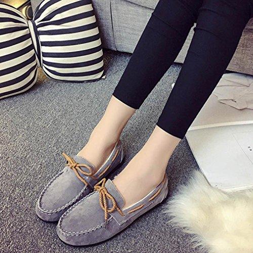 Hlhn autunno inverno donne caldi Flats gomma morbida rotonda casual piselli piatto scarpe, Similpelle, Black, 37.5 EU Grey