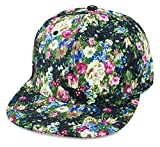 Sense42 Snapback Cap | im Floral All-Over-Print Design | Schwarz Blau Pink | Flat Cap Bill | Unisex | Hip Hop Kappe | Schirmmütze | Blumen | One Size