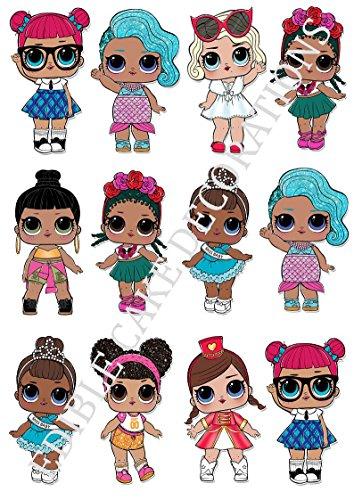 Großer Tortenaufsatz in L.O.L.-Puppen-Form, verschiedene Charaktere, stehend, aus Esspapier, Tortendekoration, 12 Stück