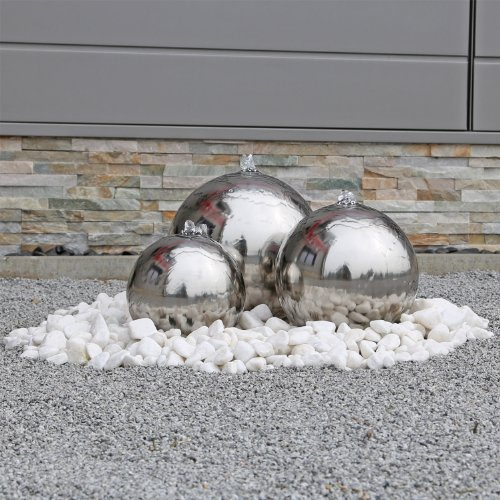 CLGarden ESB2 Fontaine boule en acier inoxydable avec 3 boules acier inoxydable poli, avec éclairage LED, Jeu d'eau, fontaine de jardin, Set complet pour extérieur, jardin Acier inoxydable bril