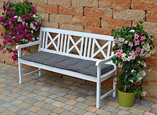 Weiße Gartenbank mit einer grauer Auflage Dreisitzer 158 x 61 x 89 cm