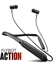 Flybot Action Bluetooth Neckband, Lightweight Wireless and Magnetic Earbuds, IPX4 Water Resistant Sports Earphones, Built-in Mic (Black)