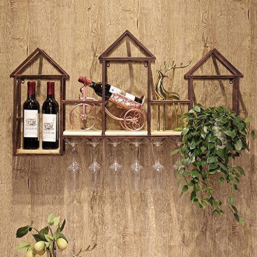 YANFEI Bücherregal Schmiedeeisen Wandhalter Bar Restaurant Massivholz Weinglas Weinglas Hängende Wandhalter 20 * 60 * 110 cm (Farbe : A) (Bar Bücherregal)