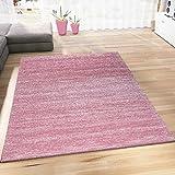 Wohnzimmer Teppich Modern Rosa Kurzflor Meliert Farbecht Pflegeleicht Pastelfarben 120x170 cm