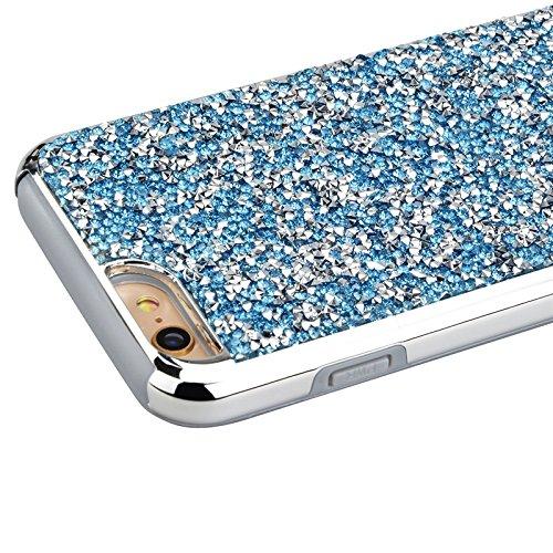 iPhone 6 / iPhone 6s Hülle, Yokata 2 im 1 Case Glitzer Bling Diamant 2 Layer Cover Innere Weich Silikon Backcover mit Hart PC Rüstung Armor Case Schutz Anti-stoß Schutzhülle + 1 x Kapazitive Feder Blau
