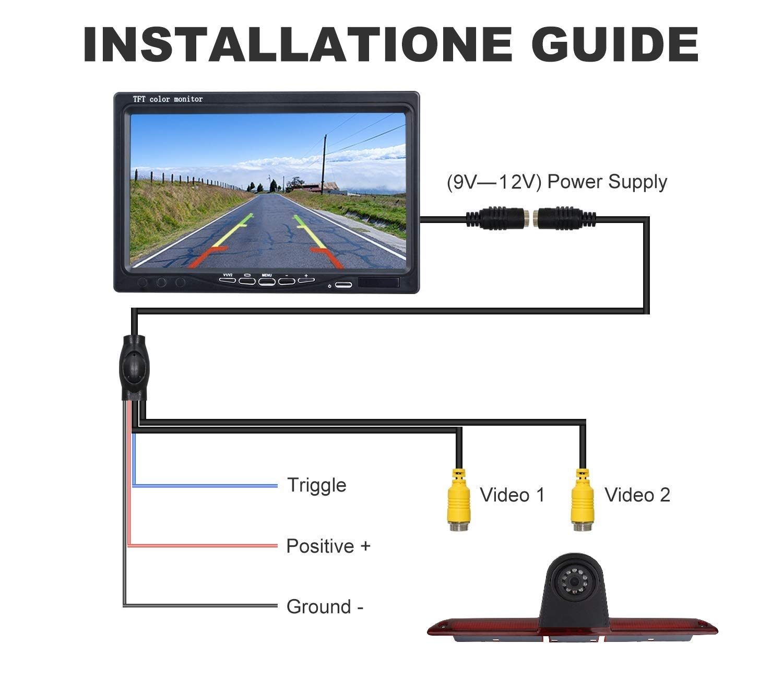 HD-Dritte-Dach-Top-Mount-Bremsleuchte-Kamera-Bremslicht-Einparkkamera-Rckfahrkamera-Set-Nachtsicht-Kamera-43-Zoll-Monitor-Bildschirm-LKW-KFZ-Display-fr-Expert-Dispatch-Proace-07-16