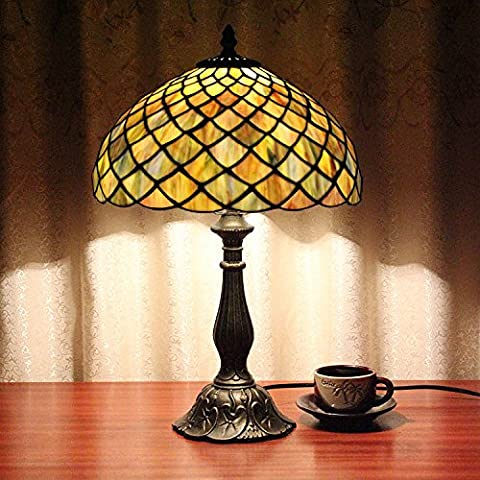 Carl Artbay 12-Inch Vintage Pastoral Stained Glass Tiffany Table Lamp Bedroom Lamp Bedside Lamp
