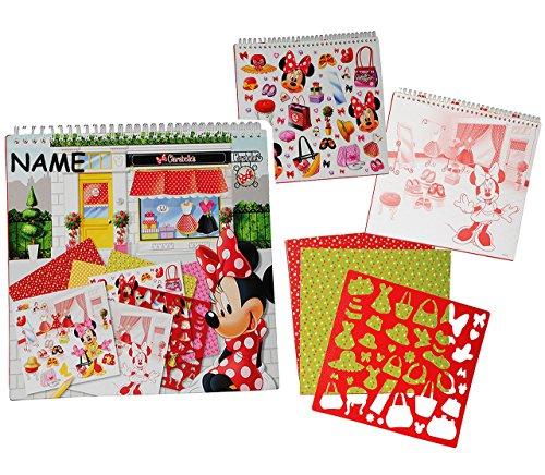 XL Malblock / Malbuch - mit Schablonen + Sticker / Aufkleber + Buntpapier - Disney Minnie Mouse incl. Name - für Mädchen Kinder Maus / Malbücher - Playhouse Mädchen - Malvorlagen zum Ausmalen Malspaß