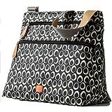 PacaPod Jura Black Designer Baby Changing Bag - Luxury Lightweight Black Pattern 3 in 1 Organising System