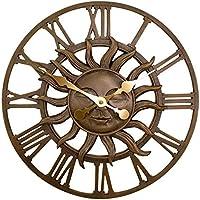 Primrose Dekorative Wanduhr, Motiv: Sonne, für den Garten, mit Kupfer-Oberfläche, Garten, Dekoration, 38cm