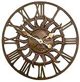 Primrose Déco Jardin Soleil Horloge dans une finition en cuivre – extérieur Décor de jardin Horloge murale – 38 cm