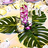 KUUQA 48 Stück Tropical Party Decor Tropische Palme Monstera Blätter Simulation Blatt für Hawaiian Luau Safari Party Jungle Beach Thema BBQ Geburtstag Partydekorationen Liefert 3 Größen - 5