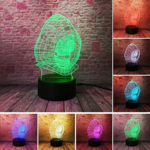 Farbverlauf 3D Zauberer Schädel Vision LED Nachtlicht Schreibtischlampe Kind Kind Geburtstag Urlaub Halloween Party Geschenke ()