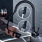 LHbox Tap Küche Wasserhahn Schwarze Küche Wasserhahn Pull-down-Kalten Wasserhahn Becken aus Bronze-Weite Geschirr Waschen Pool Mischbatterie Wasserhahn Schwenken des Klappdachs