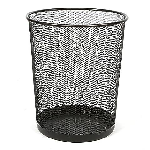 Aojia Mesh Round Wastebasket, Black (24 X 19CM Diameter 26CM H)LY-9103