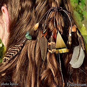 Zopf braun Fasan 15 Feder Haargummi, Zopfgummi Haarschmuck Haar Extension Vogel Federschmuck Federkram handgemacht