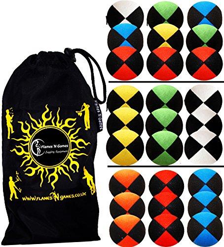 Flames N Games ® Thud Jonglierbälle 3er Set - Profi Beanbag Bälle aus Velours + Reisetasche! Komplett-Set Ideal Für Anfänger und Auch Für Profis! (Rot/Grun/Blau)