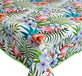 Home Direct Tovaglia in tela cerata plastificata rettangolare 140 x 200cm verde rosa Fenicottero