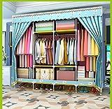 ZLJXP Einfache Garderobe Nicht-hölzerne Garderobe Großer Raum Kleiderschrank Einfach und Wirtschaftlich Kleidergarderobe