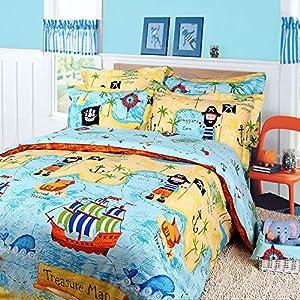 MeMoreCool Home Textile con diseño dibujos animados piratas 100% algodón cielo Azul Niños/niños ropa de cama, funda de edredón de mapa del tesoro, suave hoja plana, doble, 3PC