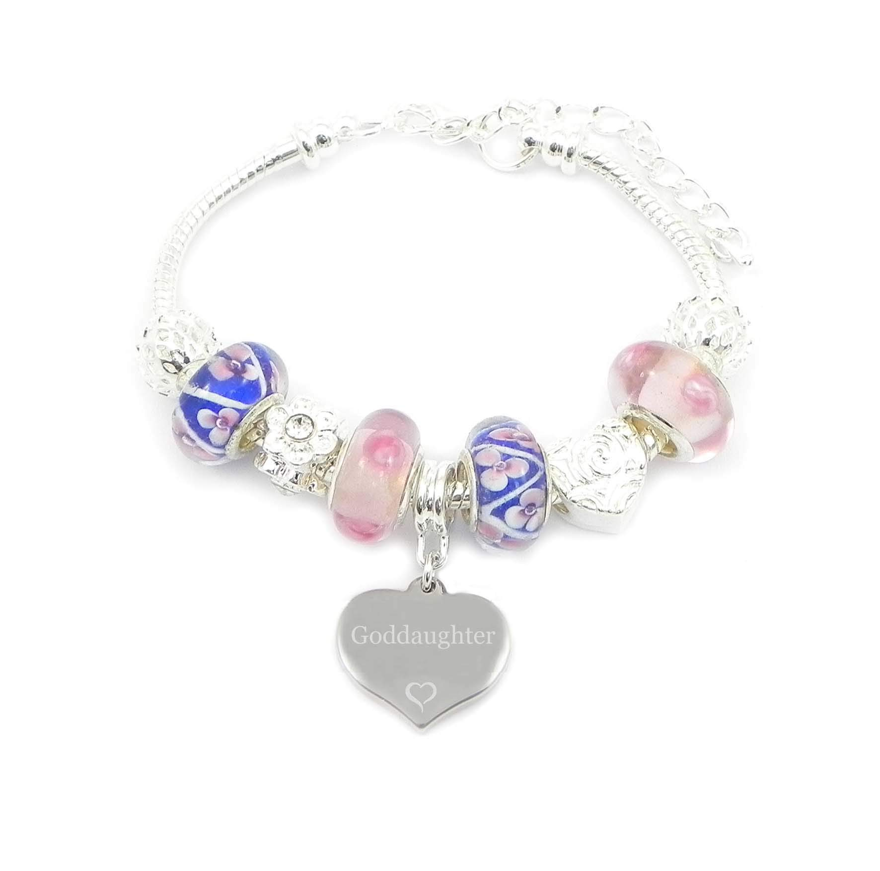 SanaBelle™ Goddaughter Engraved Personalised Pink & Blue Flowers Charm Bracelet – Gift Boxed