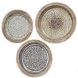 Colección Home - Muebles, decoración - Juego de 3 platos decorativos, conmemorativos para colgar en la pared - Estilo: Étnico - Patrón: Mandala - Material: Metal, hierro - Color Surtidos - Ø 36-42cm