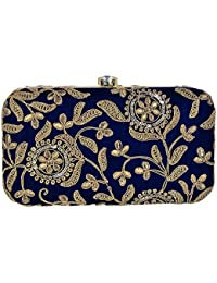 Tooba Hand Crafted Designer Box Clutch with Zari Embroidery Work on Imported Velvet Texture Specially Designed for Women & Girls in Parties/Wedding/festivals/Casual and special evenings