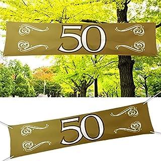 Folat Banner 50 Goldhochzeit, Polyester, ca. 40x180cm